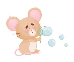 Cartoon mouse blows soap bubbles. Vector illustration.