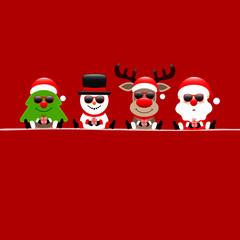 Wall Mural - Quadratische Karte Weihnachtsbaum Schneemann Rentier und Weihnachtsmann Sonnenbrille Rot