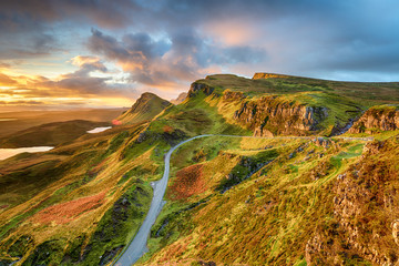 Wall Mural - Dramatic sunrise sky over the Quiraing