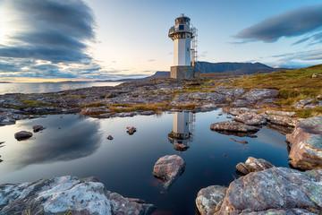 Fototapete - Dusk at Rhue lighthouse near Ullapool