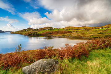 Looking out over Loch inchard cloaked in Autmun colour
