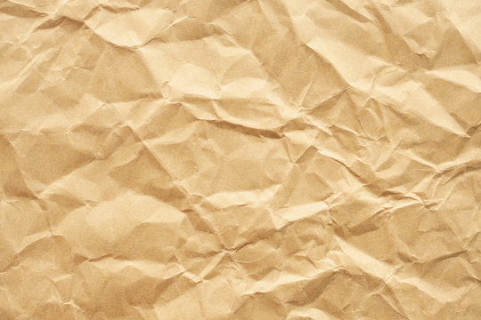 Brown crumpled recycle paper texture background