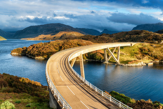 The curved Kylesku Bridge in Scotland