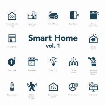 Smart home icon set volume 1 isolated on light background. Contains such icons Smart Heating System, Thermometer, Liquid Level Sensor, Motion Detection Sensor and more.
