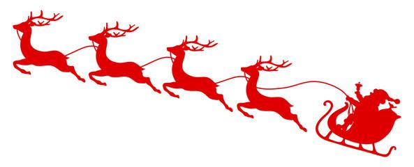 Wall Mural - Silhouette Roter Weihnachtsschlitten Santa Und Vier Fliegende Rentiere