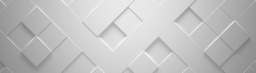 Wide White Geometric Background (Website Head) 3d Illustration