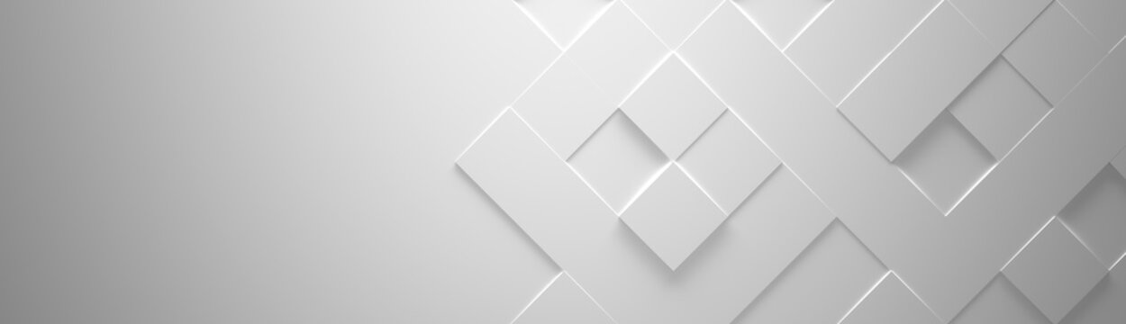 Wide White Geometric Background With Copy Space (Website Head) 3d Illustration