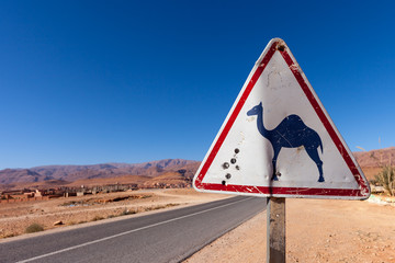 Attention Camels sign beside a street in Morocco. In the background the Atlas mountain range is visible.