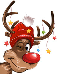 Rudolph red nose stars hat smiling illustration vector eps