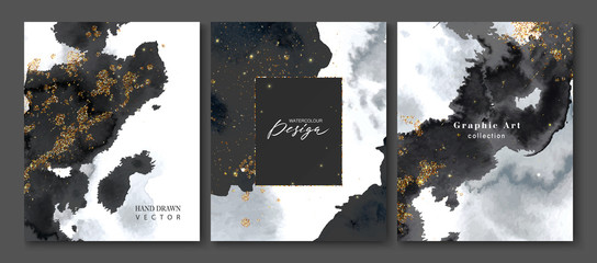 Set of creative postcards with black watercolor and gold sequins.Collection of hand drawn artistic creative universal cards templates.Design invitations, brochures and more.Vector illustration