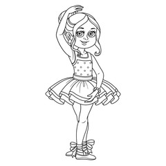 Cute girl in carnival costume of a ballerina outlined for coloring page