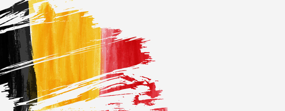 Banner with grunge painted flag of Belgium