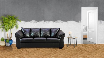 Modern  interior with leather sofa,table and plants 3d illustration