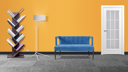 Modern  interior with couch, bookcase and lamp  3d illustration