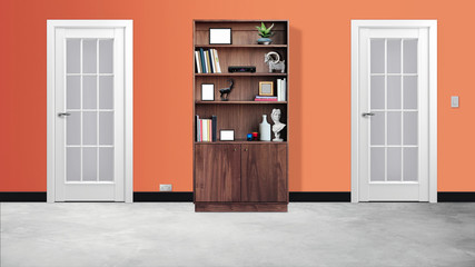 Modern office  interior hallway with two doors and bookcase 3d illustration