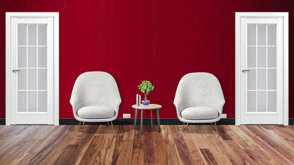 Modern office  interior hallway with two chairs and table 3d illustration