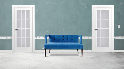 Modern office  interior hallway with two doors and sofa 3d illustration