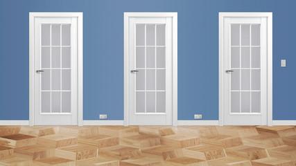 Modern interior hallway with three closed doors and hardwood floors 3d illustration