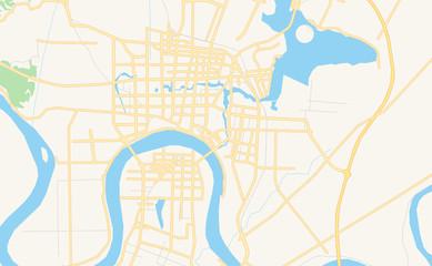 Printable street map of Changde, China