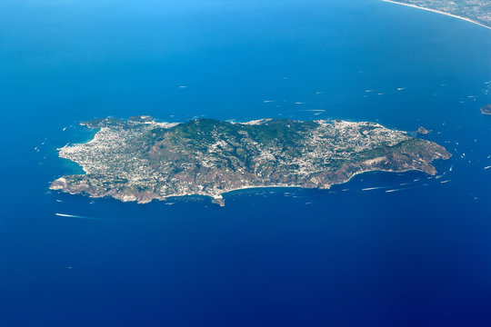 Aerial view of the Island of Ischia, Italy