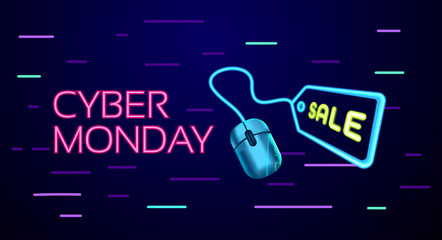 Cyber Monday colorful neon style conceptual sign sales background, banner, poster, flyer template