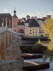 View over Regensburg, Bavaria on a sunny day in October