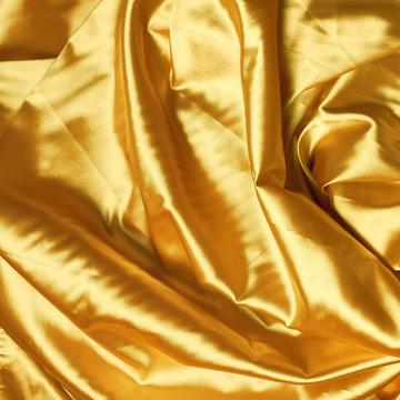 yellow satin drapery