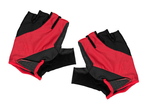 red bicycle gloves on an isolated white background