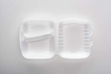 top view of empty eco package on white background