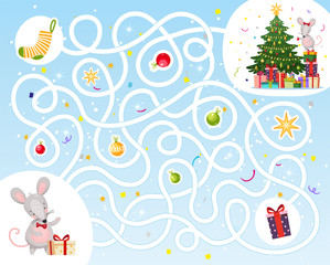 Help the mouse find a way to visit with a gift for the new year. Maze game for children. Christmas game with cute rats. Labyrinth in flat cartoon design, stock vector.