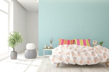 Colorful bedroom with home plant. Scandinavian interior design. 3D illustration