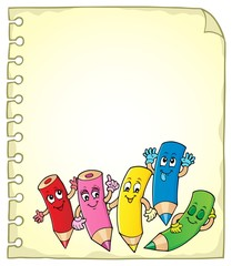 Notepad page with happy wooden crayons