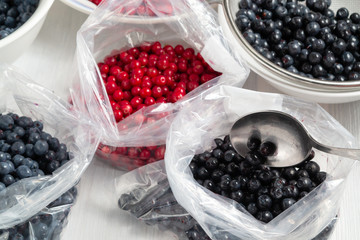 Process of preparing berries for freezing - folding into packages