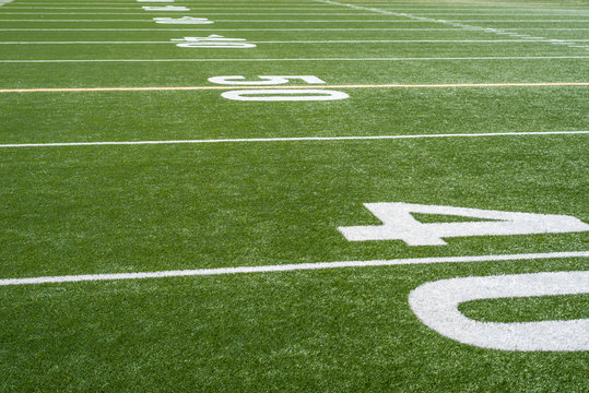 perspective view looking down football field