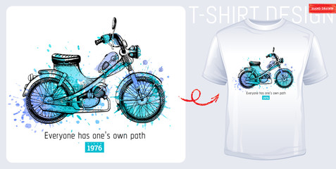 Moto bike scooter t-shirt. Motorcycle print, trendy memphis color moped with slogan isolated on white background. Hand drawn man, boy sketched vector illustration. Fashion art with watercolor splash