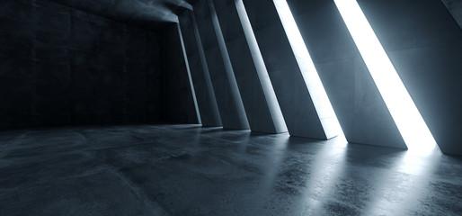 Huge Big Dark Hall Garage Tunnel Corridor Car Empty Studio Background White Windows Light Glow Cement Asphalt Concrete Grunge Dark Tall 3D Rendering