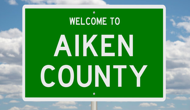 Rendering of a green 3d highway sign for Aiken County