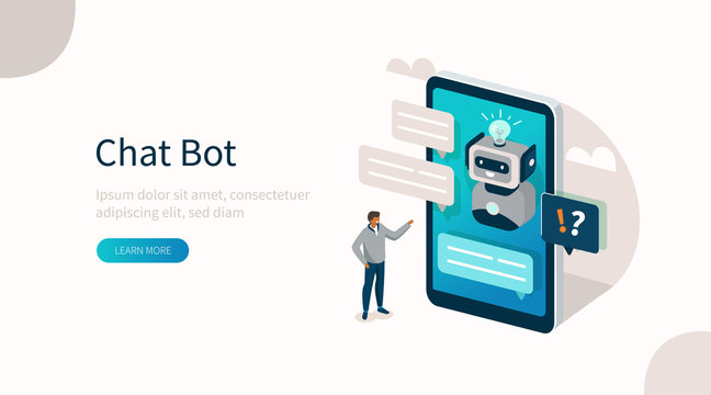 Customer having Dialog with Chat Bot on Smartphone. Man Character Chatting with Robot. Artificial Intelligence and AI Chatbot in Marketing Concept. Flat Isometric Vector Illustration.