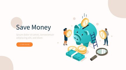 People Characters Standing near Piggy Bank, Gold Coins Stack and Banknotes Bundle. Woman and Man Holding Dollar Coins. Saving Money or Cash Back Concept. Flat Isometric Vector Illustration.