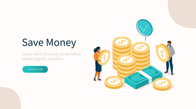 People Characters Standing near Gold Coins Stack and Banknotes Bundle. Woman and Man Holding Dollar Coins. Saving Money or Cash Back Concept. Flat Isometric Vector Illustration.