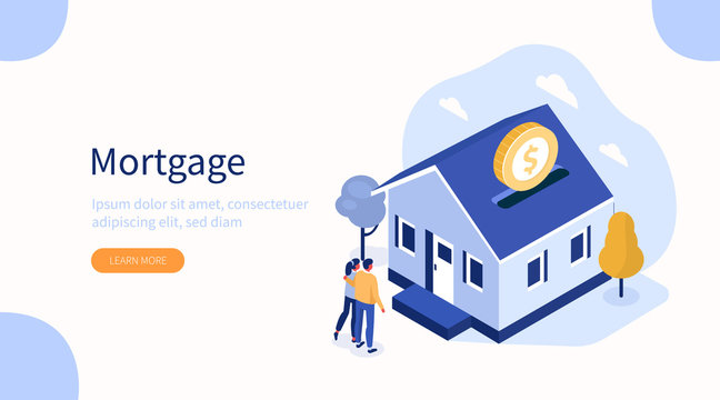 Family Buying Home with Mortgage and Paying Credit to Bank. People Invest Money in Real Estate Property. House Loan, Rent and Mortgage Concept. Flat Isometric Vector Illustration.