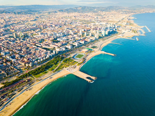 Türaufkleber Barcelona Aerial view of Barcelona coastal quarters