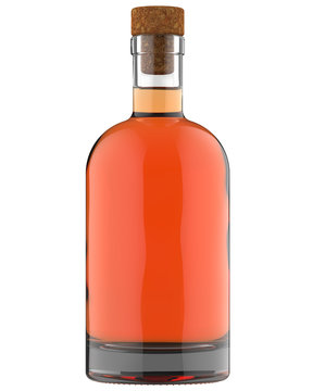 Clear White Glass Whiskey, Vodka, Gin, Wine, Ticture, Moonshine or Tequila Bottle with Amber Liquid. 750, 700, 1000 ml (70, 75, 100 cl) or 1, 0.7, 0.75 L volume. Isolated 3D Render on White.