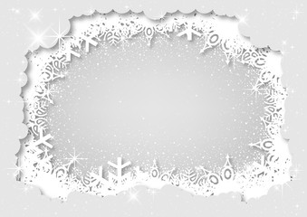 White Christmas Layered Paper Style Background with Snowflakes and Snow and Glitters with Stars - Abstract illustration for Your Graphic Designs, Vector