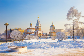 andscape of Irkutsk city of Russia during winter season,church and tree are cover by snow.It is very beautiful scene shot for photographer to take picture.Winter is high season to travelling Russia.