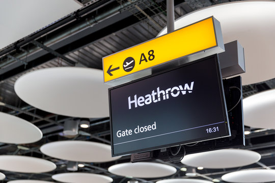 LONDON - MAY 27, 2018: Departures sign at London Heathrow airport