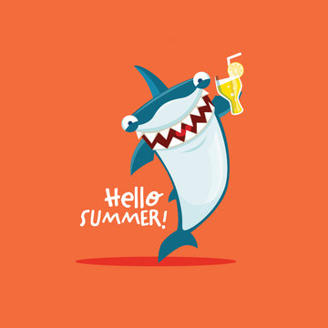 Vector illustration of shark with glass of drink. Hello summer.