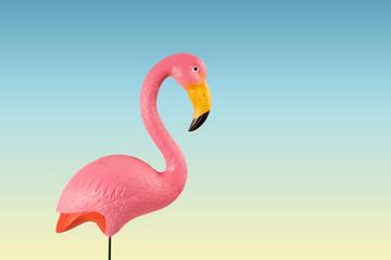 In de dag Flamingo pink flamingo on a blue background