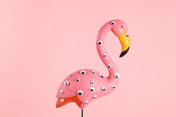 Foto op Canvas Flamingo freak pink plastic flamingo
