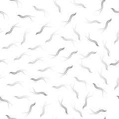 Seamless pattern: isolated abstract black fish contours. Sperm cells on a white background. Vector. illustration